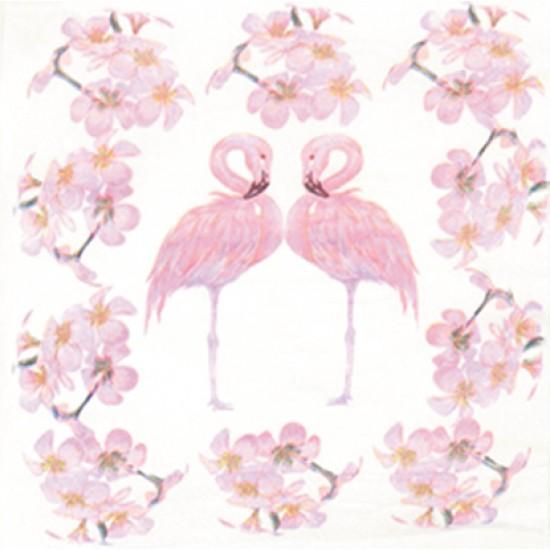 Χαρτοπετσέτα decoupage 33x33cm ροζ φλαμίνγκο