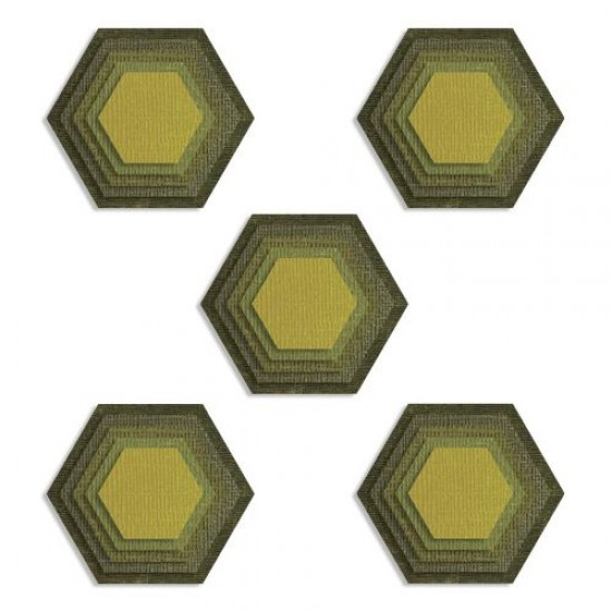 Sizzix Thinlits Die Set 25PK Stacked Tiles Hexagons by Tim Holtz