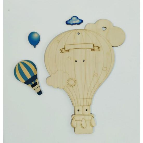 Ξύλινη θεματική βάση λαμπάδας Αερόστατο #2 με διακοσμητικό κεριού