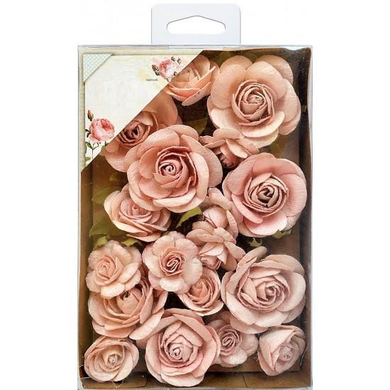 Χειροποίητα Τριαντάφυλλα Ροζ 28τεμ με glitter (20 Λουλούδια και 8 κλαδιά με φύλλα)