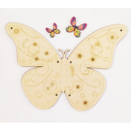 Ξύλινη θεματική βάση λαμπάδας Πεταλούδα με διακοσμητικό κεριού