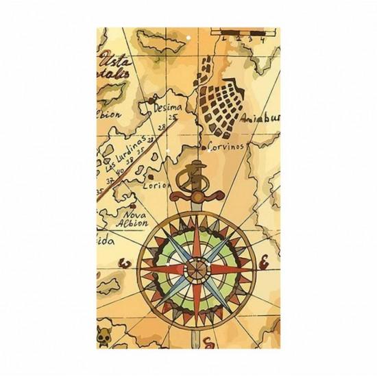 Ξύλινη θεματική βάση λαμπάδας Vintage Χάρτης #2 με έγχρωμη εκτύπωση σε ξύλο