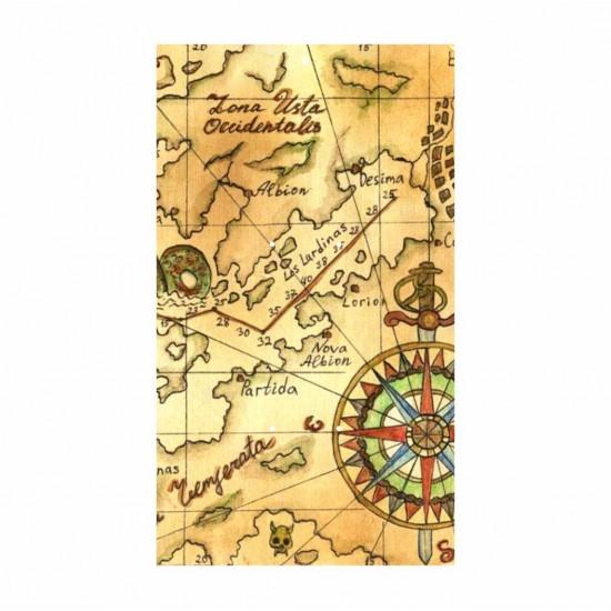 Ξύλινη θεματική βάση λαμπάδας Vintage Χάρτης #3 με έγχρωμη εκτύπωση σε ξύλο